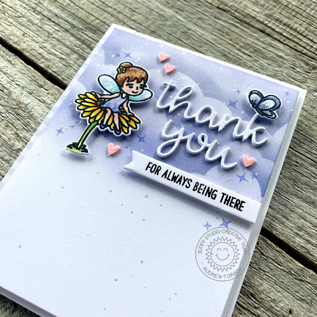 Sunny Studio Stamps: Words of Gratitude Thank You Words Dies Garden Fairy Thank You Card by Audrey Tokach