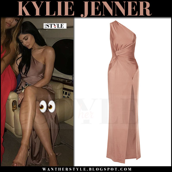Kylie Jenner in pink satin dress at high school prom what she wore march 2017