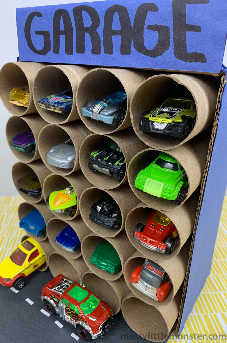 DIY toy car storage solution