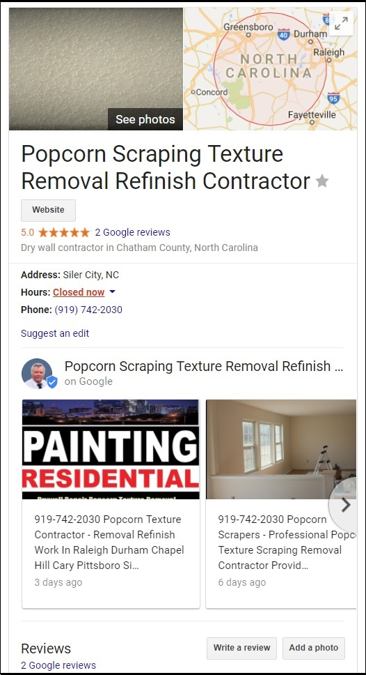 Drywall Repair Popcorn Texture Removal Refinish Contractor NC