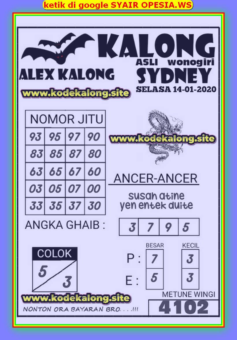 Kode syair Sydney Selasa 14 Januari 2020 131