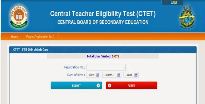 CTET Feb 2017 Admit Card