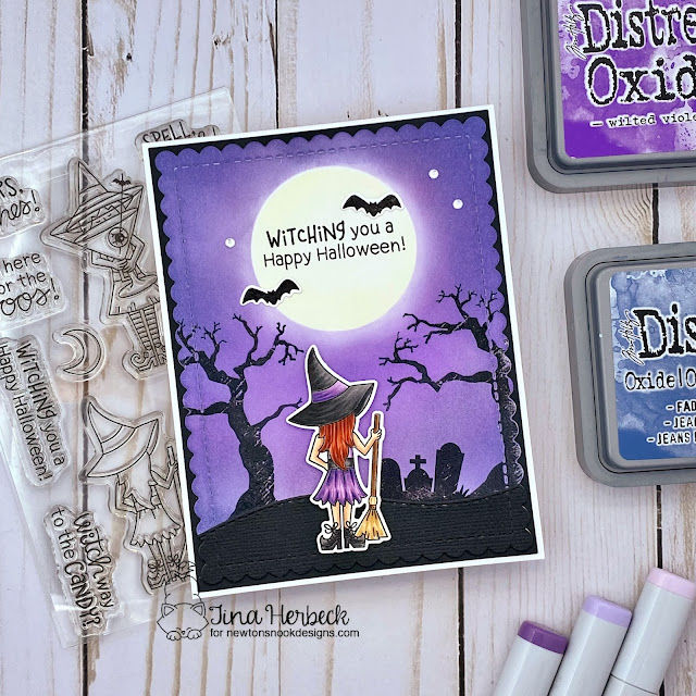 Halloween Witch Card by Tina Herbeck   Brooms & Boos Stamp Set, Spooky Street Stamp Set and Slimline Masking Circles & Squares Stencil Set by Newton's Nook Designs #newtonsnook