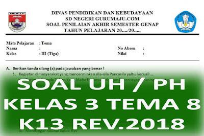 Soal UH / PH Kelas 3 Tema 8 Kurikulum 2013 Revisi 2018