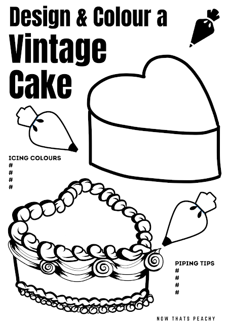 FREE Vintage Cake Colouring in page Printable, Design your own buttercream cake and plan your cake decorating the smart way