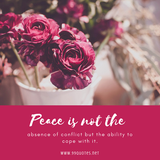 Peace is not the absence of conflict but the ability to cope with it.