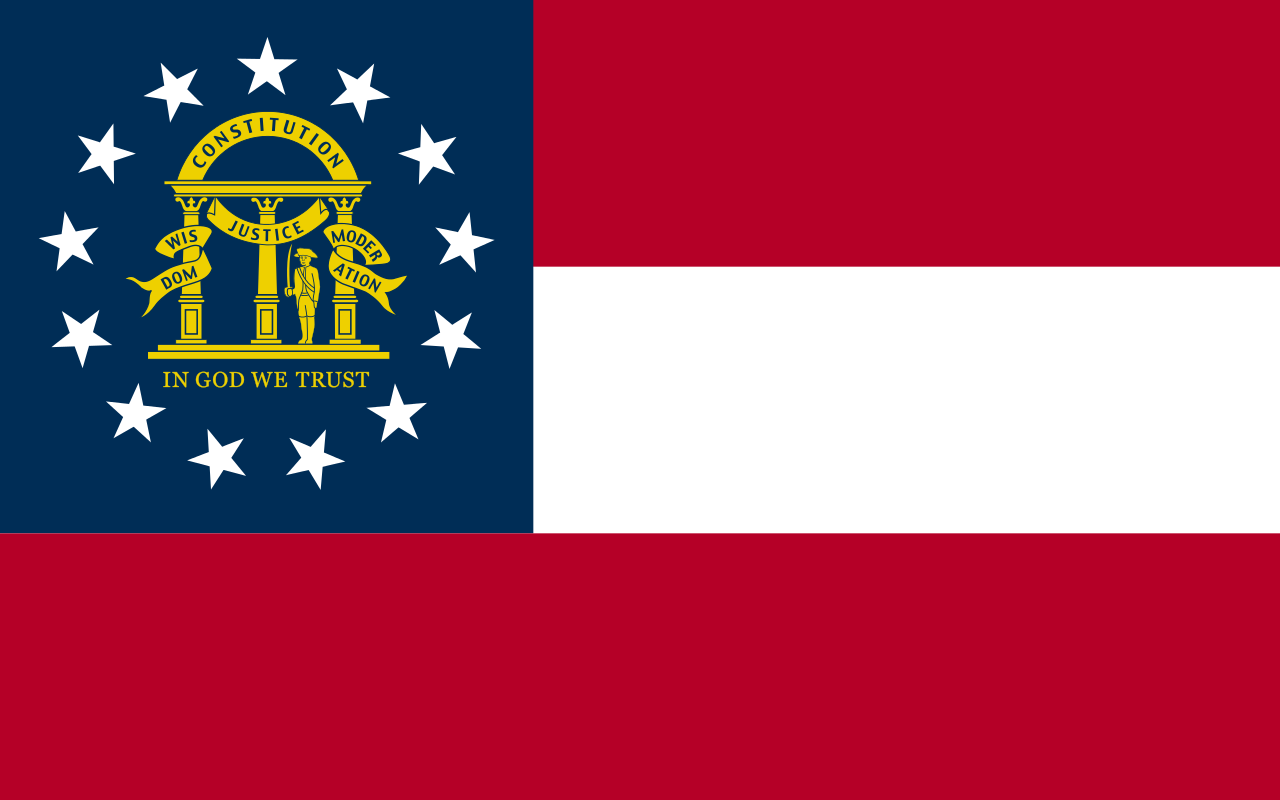 In Concept Georgia S Is A Pretty Straightforward Flag Three Horizontal Bars Alternating Red White Blue Canton With Circle Of 13 Stars