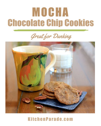 Mocha Chocolate Chip Cookies ♥ KitchenParade.com, a coffee fix and a chocolate fix both at once.