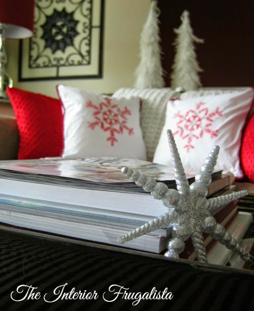 Decorating for the holidays with DIY Snowflake Toss Cushions