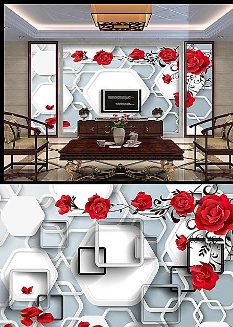 Tranh dán tường hoa hồng