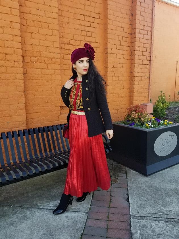 SHEIN Red Metallic Skirt