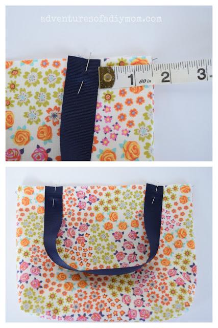 adding ribbon handles to tote bag