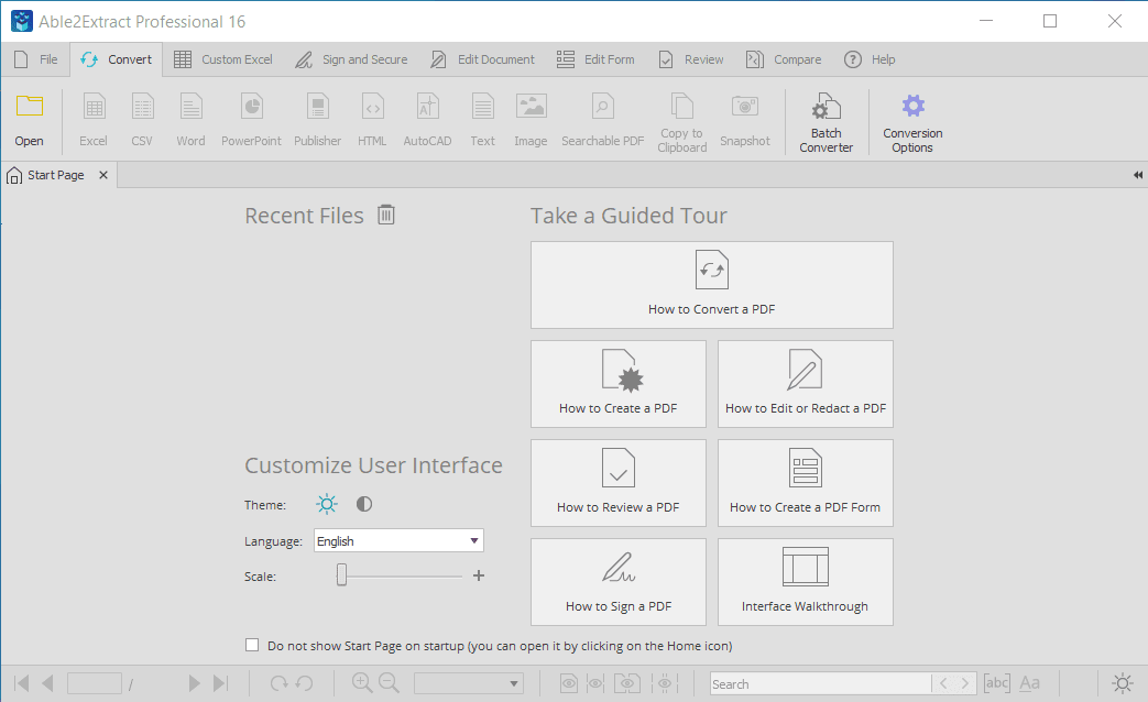 Able2Extract Professional Main Interface Screenshot