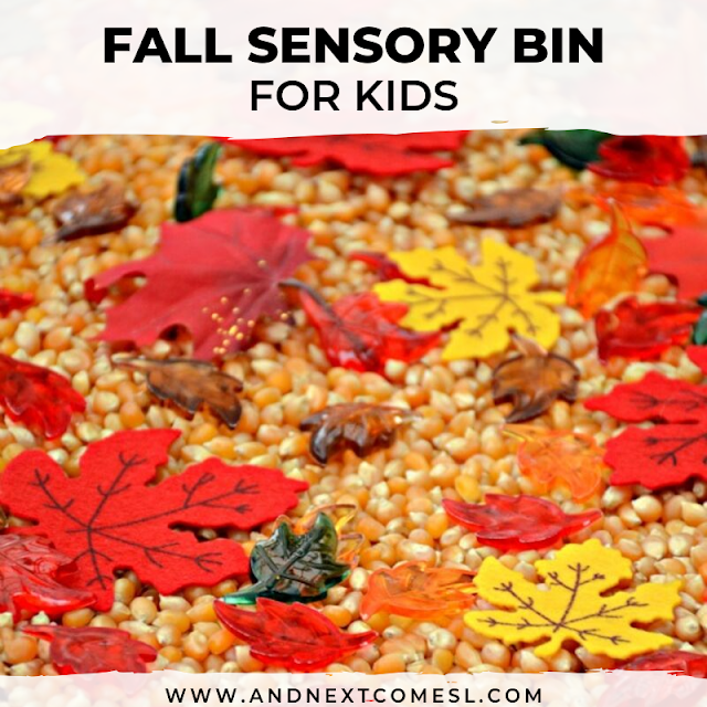 Fall sensory bin with corn