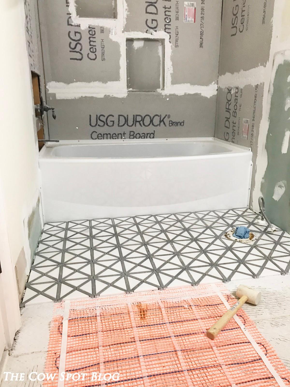 The Cow Spot: Shower Niches + Heated Floors - Croix\'s Bath Part 2