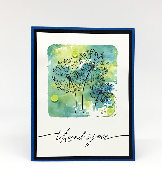 Handmade stamped dandelion thank you card