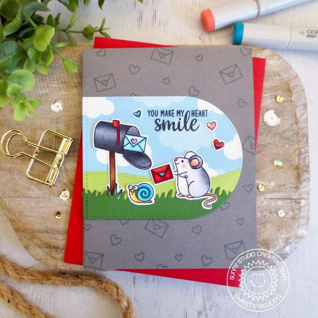Sunny Studio Stamps: Snail Mail Harvest Mice Stitched Arch Dies Friendship Card by Christy Reuling