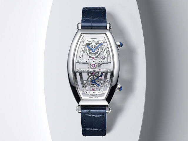 Cartier Privé Collection, Tonneau watches 2019. Skeleton dual time model in platinum.