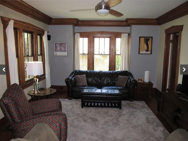 living room in Craftsman-era Sears model, the Ashmore, in Erie, Pennsylvania