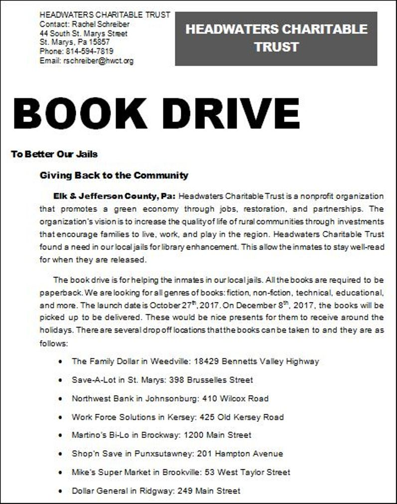 Solomon's words for the wise: Headwaters Charitable Trust Book Drive
