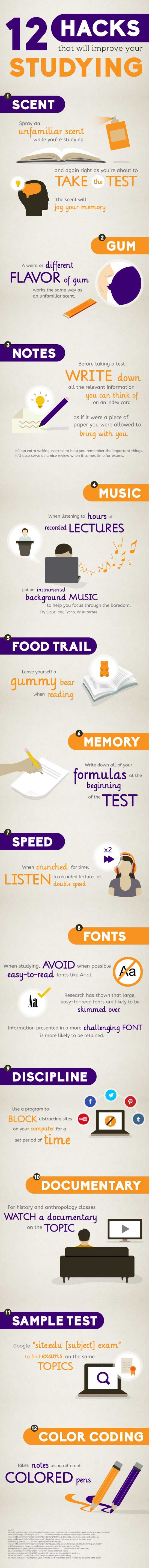 12 Hacks That Will Improve your Studying #infographic #Education #Study #infographics #Studying Hacks