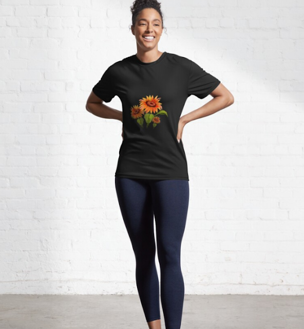 Hand-Painted Summer Sunflowers Bouquet Active T-Shirt for Men and Women