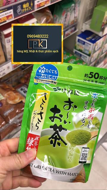 Bột trà xanh Instant green tea with matcha, hàng Nhật