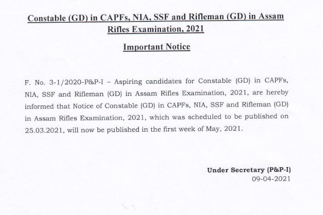 SSC GD Constable Recruitment 2021 Notification