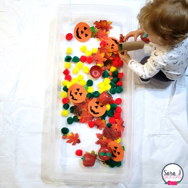 Apple, leave and pumpkin sensory bin for fall