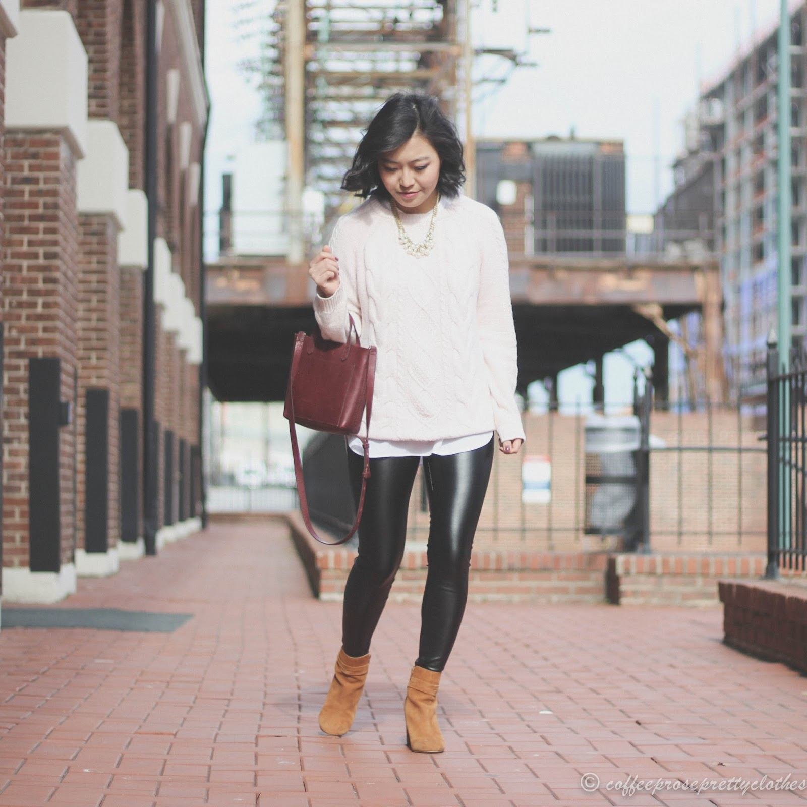 LOFT leather leggings, Sole Society Flynn, Uniqlo Rayon Blouse, Madewell Small Transport bag