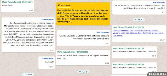 Chats de Vizcarra en WhatsApp - El Comercio