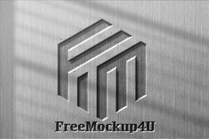 FreeMockup4u Black & White Emboss Logo Mockup