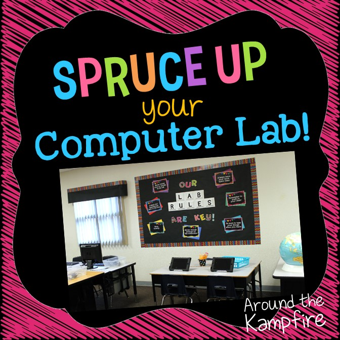 Computer Lab Decoration ~ Spruce up your computer lab with chalkboard decor around