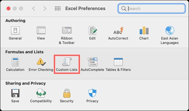 انقر فوق Excel ، تفضيلات ، قوائم مخصصة