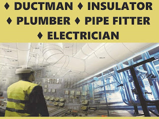 UAE Recruitment For Electricians, Plumbers,  Pipe Fitters, Welders and Ductman
