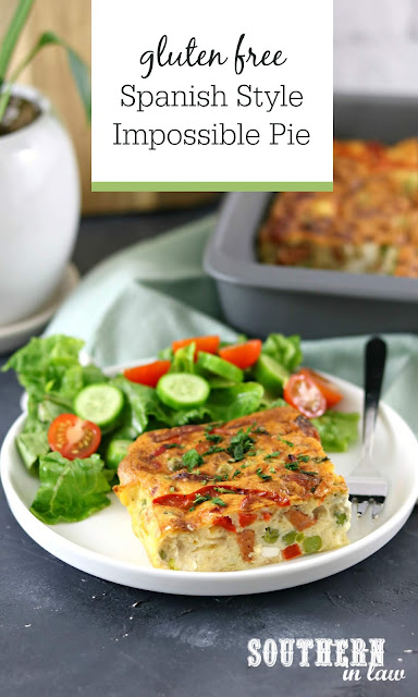 Easy Gluten Free Spanish Impossible Pie Recipe with Chorizo, Feta, Bell Peppers, Onions and Peas - Healthy Meal Prep Recipes and Lunch Ideas