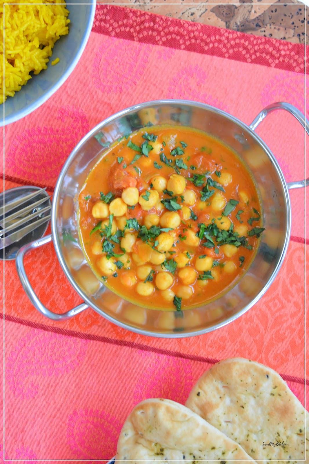 Caril de grão e tomate especiarias
