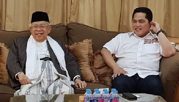 Didatangi Erick Thohir, Ma'ruf Amin Bilang Ulama Tak Suka Kampanye..