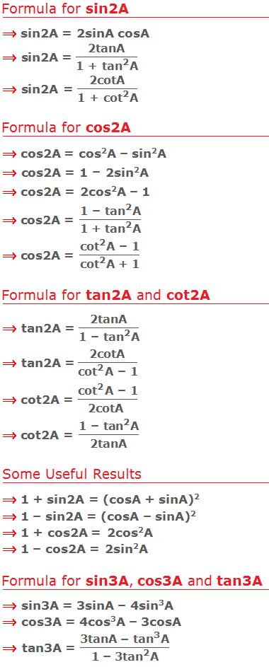 List of trigonometric formula for multiple angles 2A and 3A.
