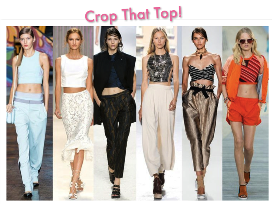 1d5530972f Top Trend Alert! Crop Tops. That 90's look is back, check out those ruffled  bandeaus, bra tops and corsets paired with high-waisted skirts and trousers!
