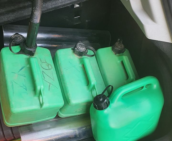 Abandoned fuel containers collected by police near the scene Image from the Welham Green Family And Friends Facebook page