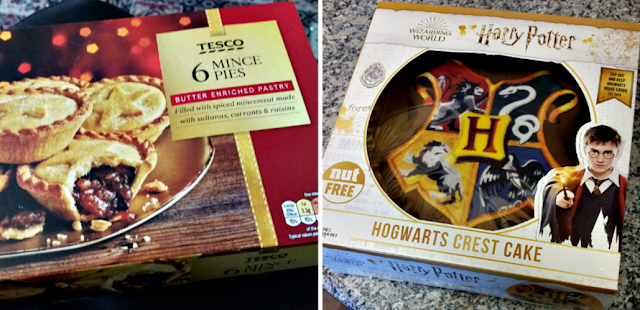 Mince pies and a Harry Potter birthday cake.