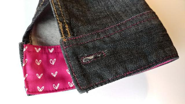 Hot pink Blueberry Park fabric on upcycled denim jacket cuff