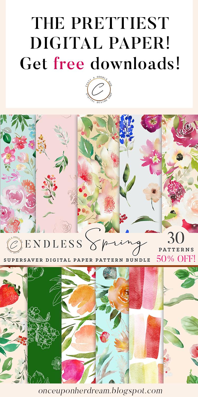 Watercolor Spring Digital Paper Pack Bundle by Craft A Doodle Doo #watercolor #freebies #printables #floral