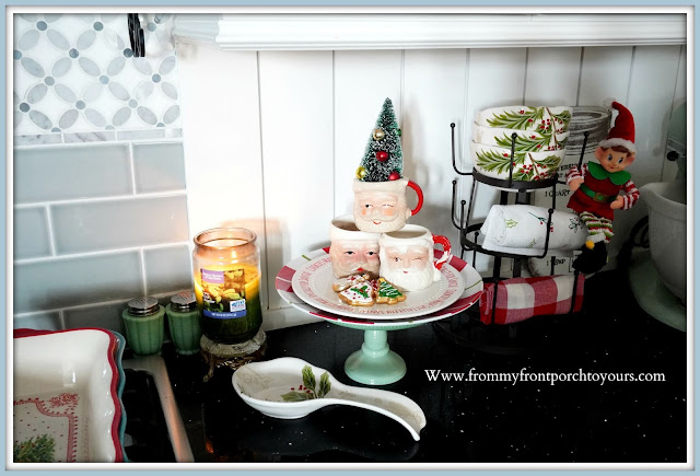 Cottage -Farmhouse- Christmas -Kitchen -Tour-Vintage-Santa-Mugs-Jadeite-Salt & Pepper Shakers-Pioneer Woman-From My Front Porch To Yours