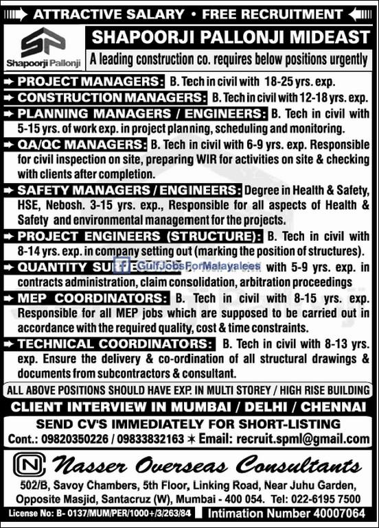 Shapoorji Pallonji Mideast Free Recruitment Gulf Jobs