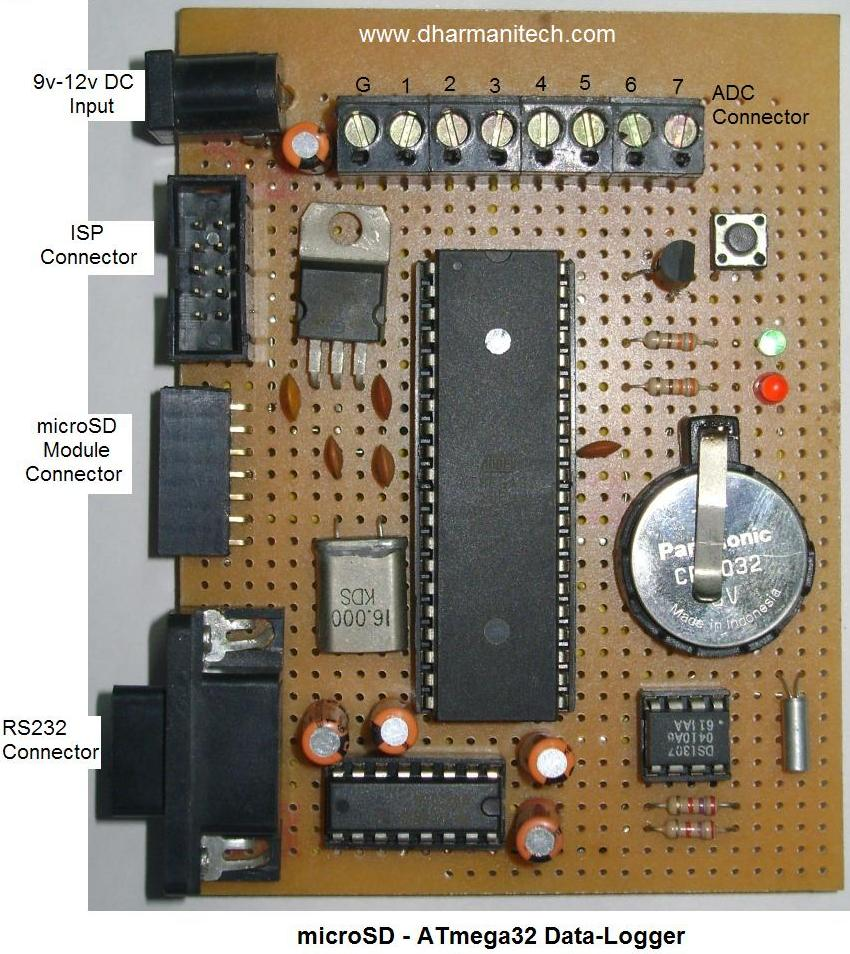 Design With Microcontrollers Microsd Atmega32 Data Logger For Example The Figure Below Shows Proteus Inbuild Microcontroller