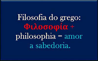 A imagem traz a definição de Filosofia que significa do Grego amor a sabedoria.