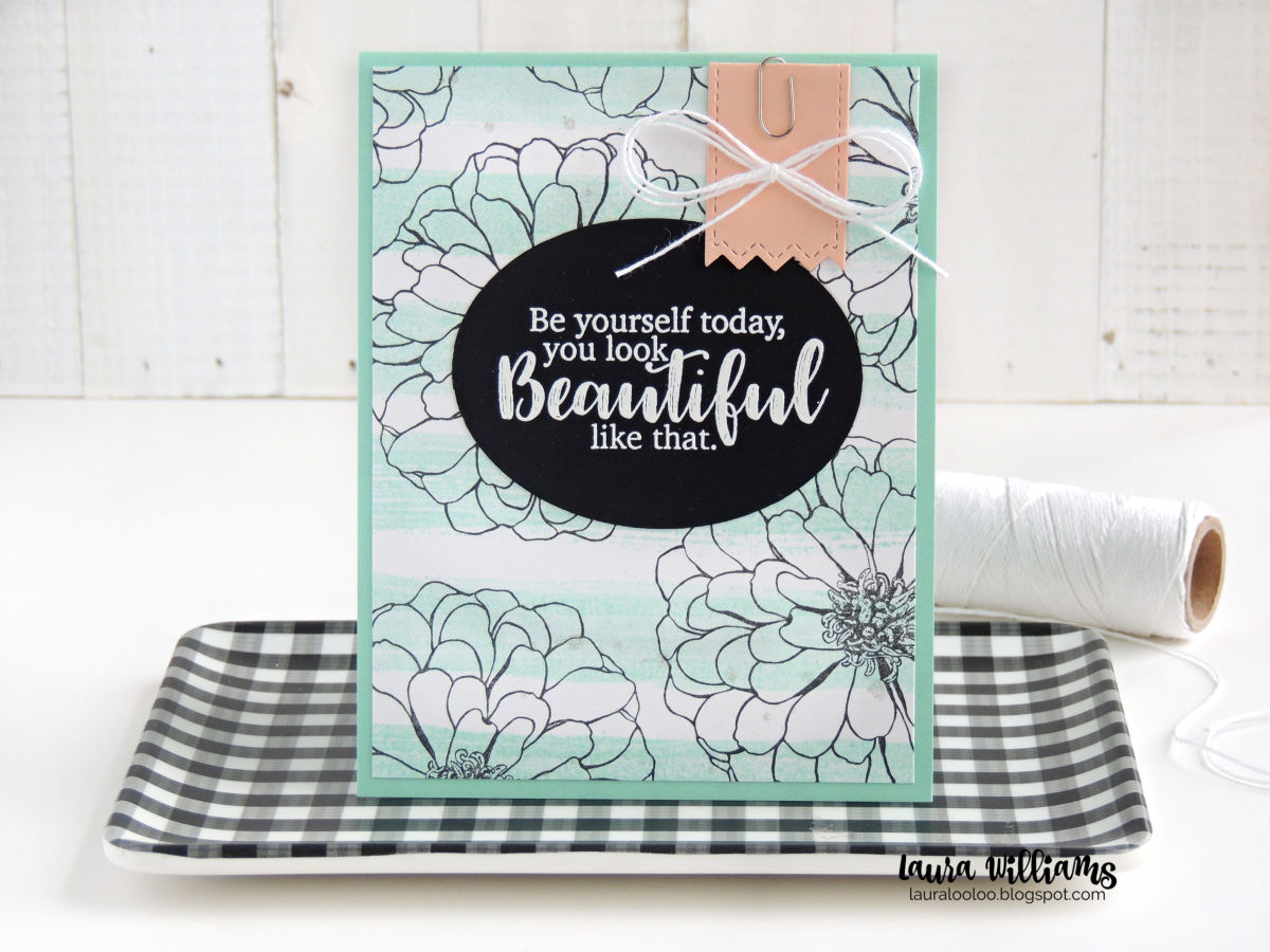 Use the Large Zinnia stamp from Impression Obsession to stamp a simple and elegant background for handmade cards. Visit my blog to see more ways to use this large flower stamp for cardmaking and crafts.