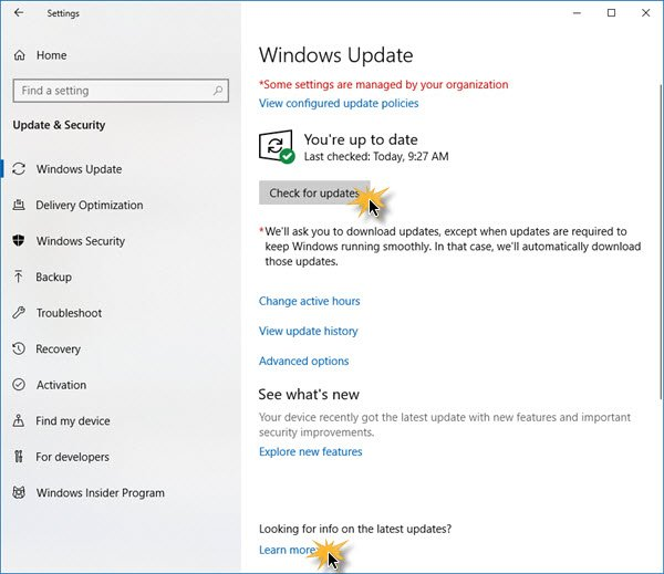 How to check for updates in Windows 10